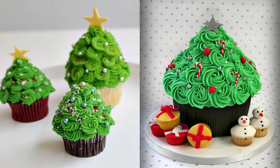 The cupcake christmas tree and edible christmas wreath are also