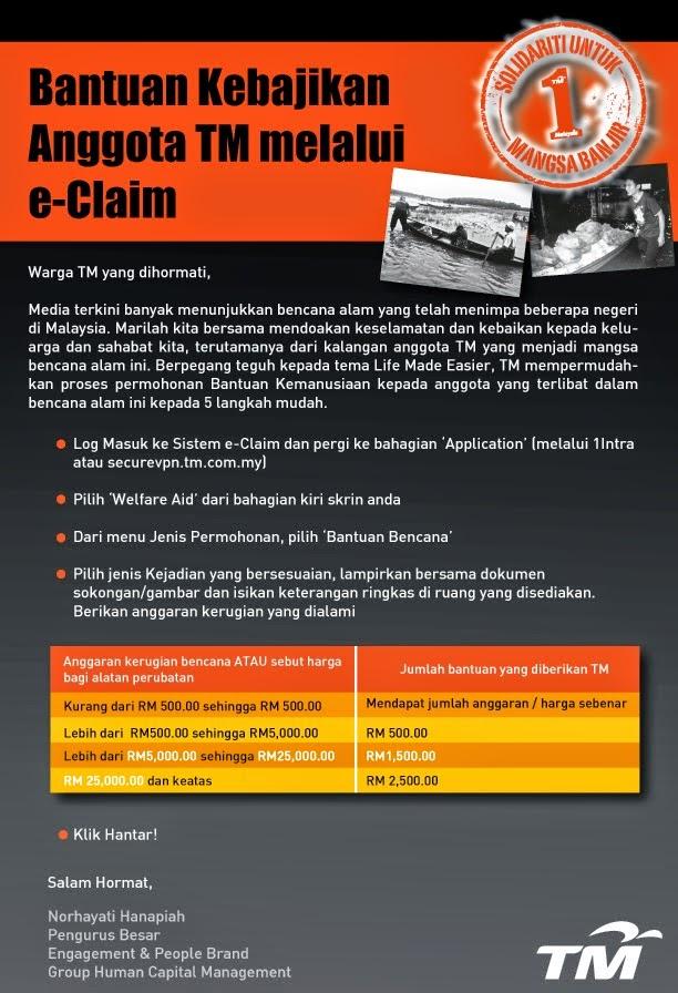 Bantuan Kebajikan Anggota TM melaui e-Claim