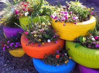 diy opona kwiaty zioła