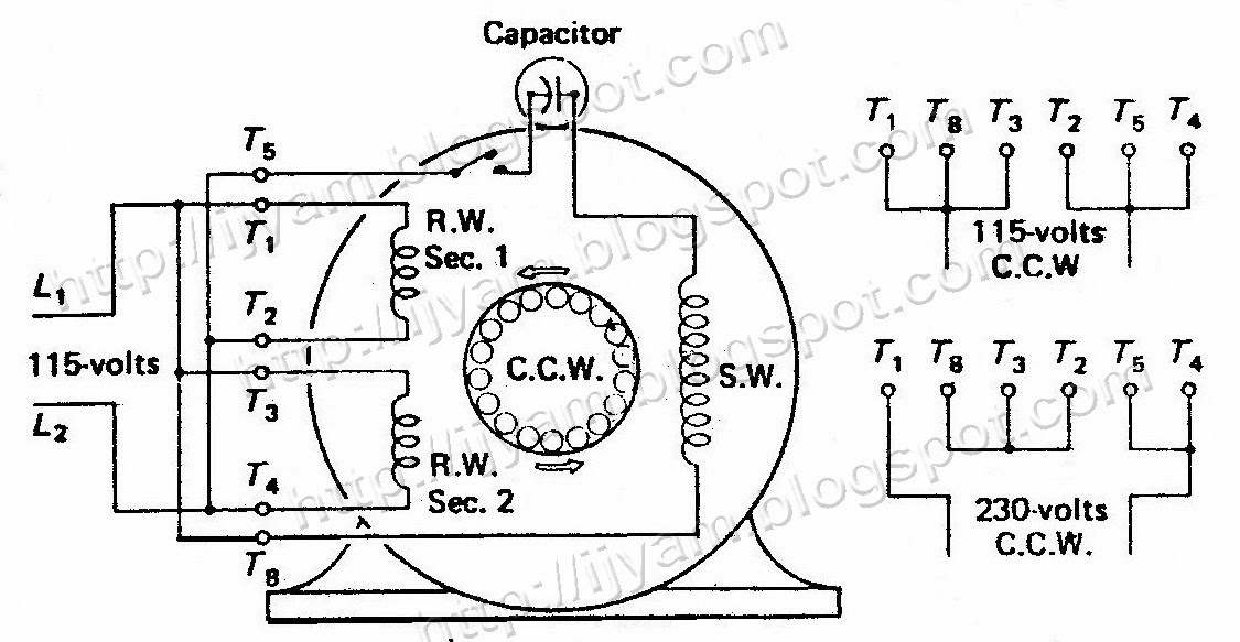 electric motor wiring diagram single phase  electric motor