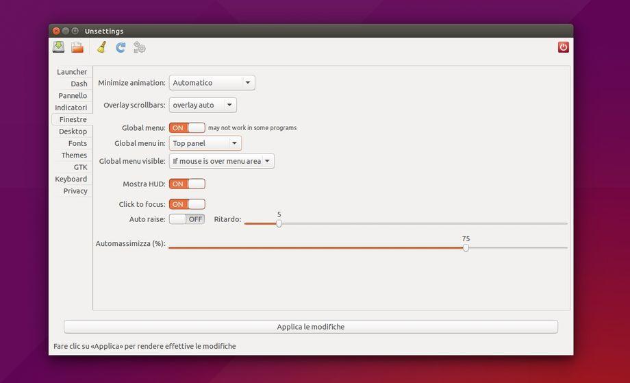 Unsettings in Ubuntu