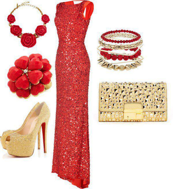 Red glittering gown, necklace, high heel sandals and purse for ladies