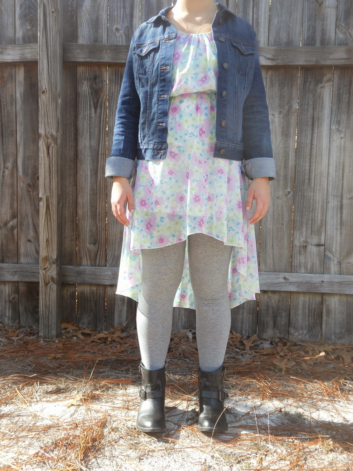 How to Wear a Dress in Winter || 02. Hi low dress, grey leggings, black ankle boots, jean jacket.