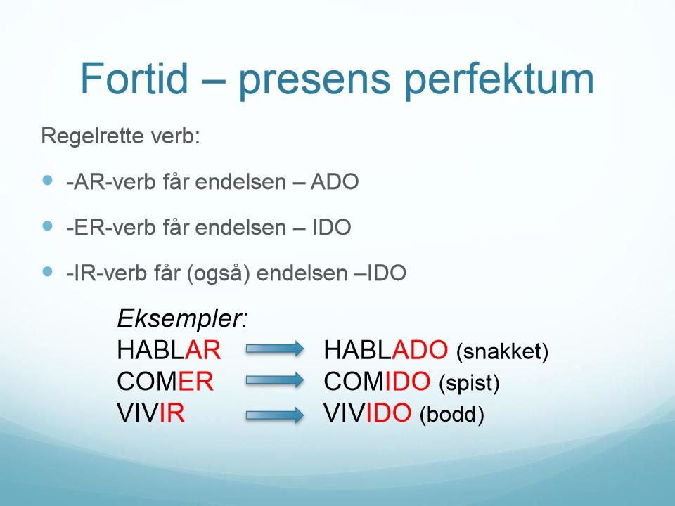 regelrette verb norsk