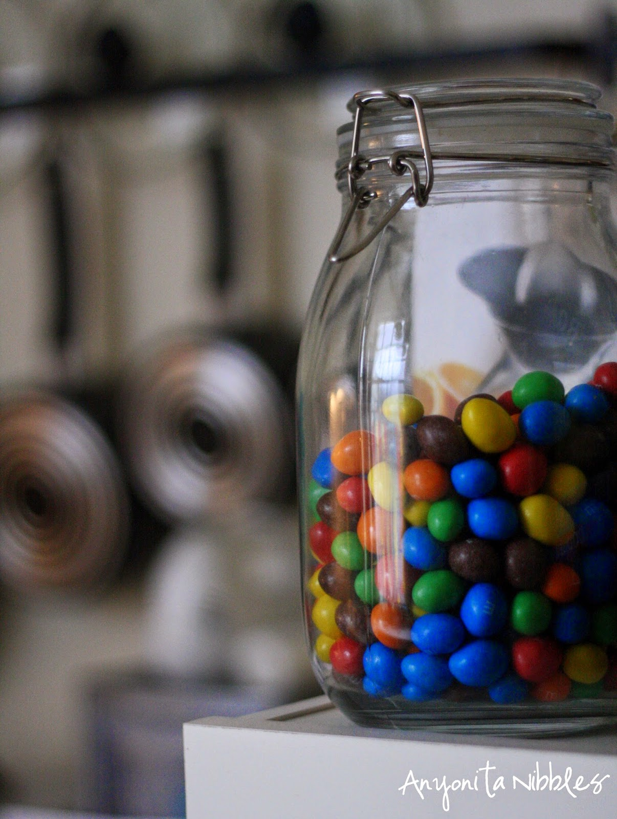 A jar of M&Ms from Anyonita Nibbles's kitchen tour