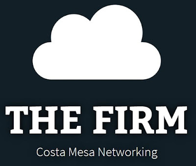 "The Firm's logo, featuring a cloud and their company name with the text, ""Costa Mesa Networking."""
