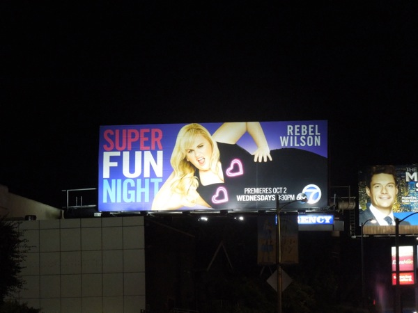 Super Fun Night pink heart lights billboard Sunset Boulevard