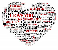 Geart shape made of the word love in many languages