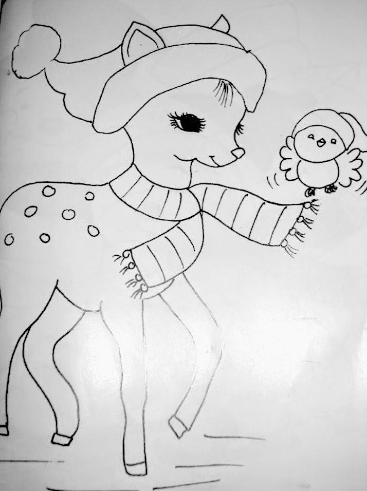 desenho de natal para pintar bambi e passaro