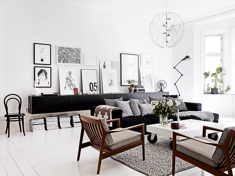 black white living room decor interior design chairs mid century ...