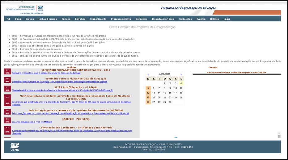 FACULDADE DE EDUCAÇÃO - CAMPUS BH / UEMG
