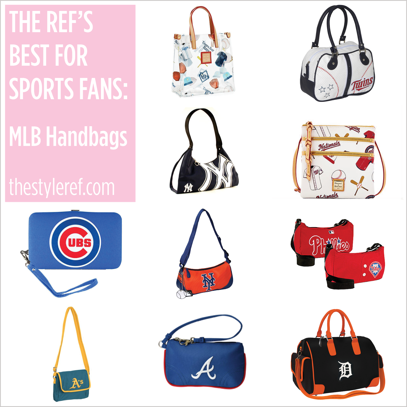 MLB handbags, purses and tote bags