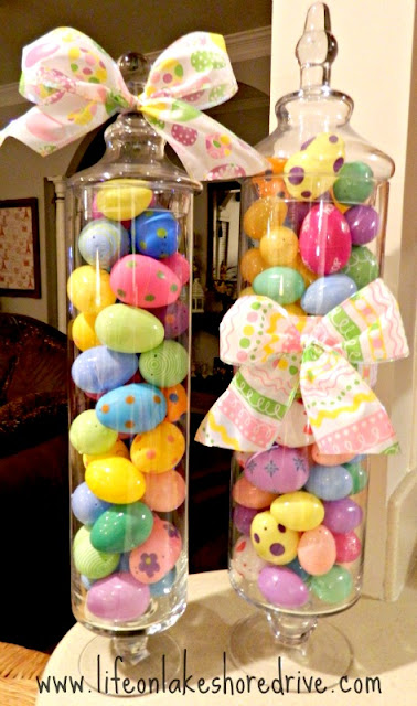 Easter decor, candy jars filled with Easter eggs, spring decor