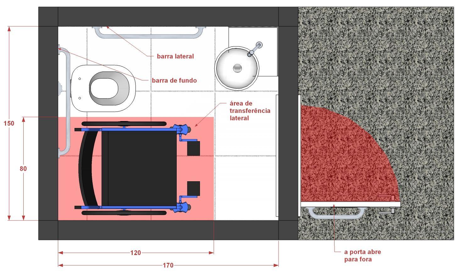 retângulo em vermelho demarca a área destinada à cadeira de rodas  #1541B6 1479x880 Banheiro Acessível Planta