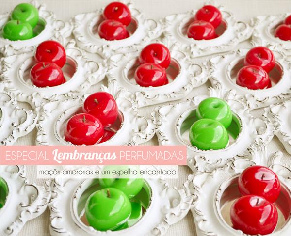 lembrancinhas de casamento sabonetes de maçã e maçã verde e espelho provençal
