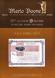 auction catalogue depicting stock certificate of Kimberlite Diamond Mining and Washing Company