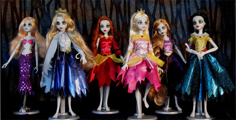 Complete first wave of Once Upon a Zombie dolls! The Little Mermaid, Sleeping Beauty, Belle, Cinderella, Rapunzel, and Snow White.