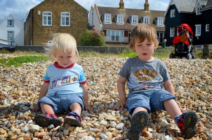 whitstable beach, toddler brothers