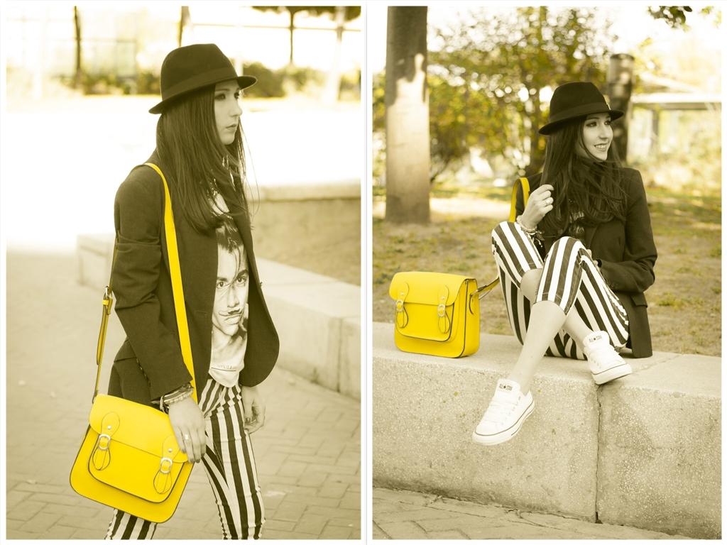 bolso satchel amarillo