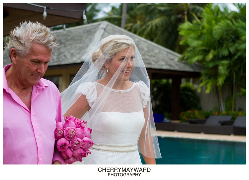 Bride and Father of the Bride about to be given away, Koh Samui, Destination wedding, The Palace wedding