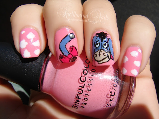 nails nailart nail art mani manicure Spellbound ABC Challenge E Eeyore Born Pretty Store metal studs clouds Sinful Colors Beautiful Girl freehand tail blue China Glaze First Mate Revlon Bare Bones bow hot black Winnie the Pooh