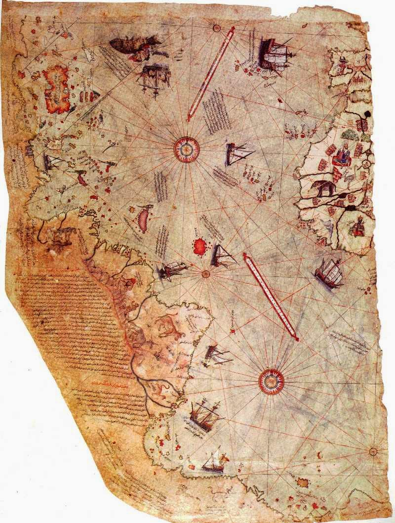 Fragment of Piri Reis map in Topkapi museum 1513, Turkey