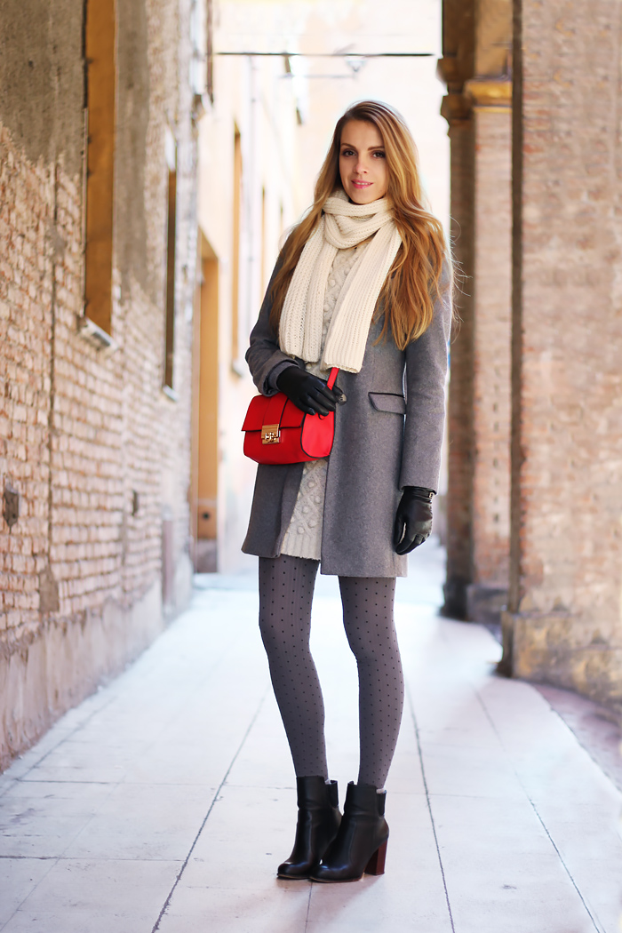 grey coat, red bag, pois tights winter outfit, fashion
