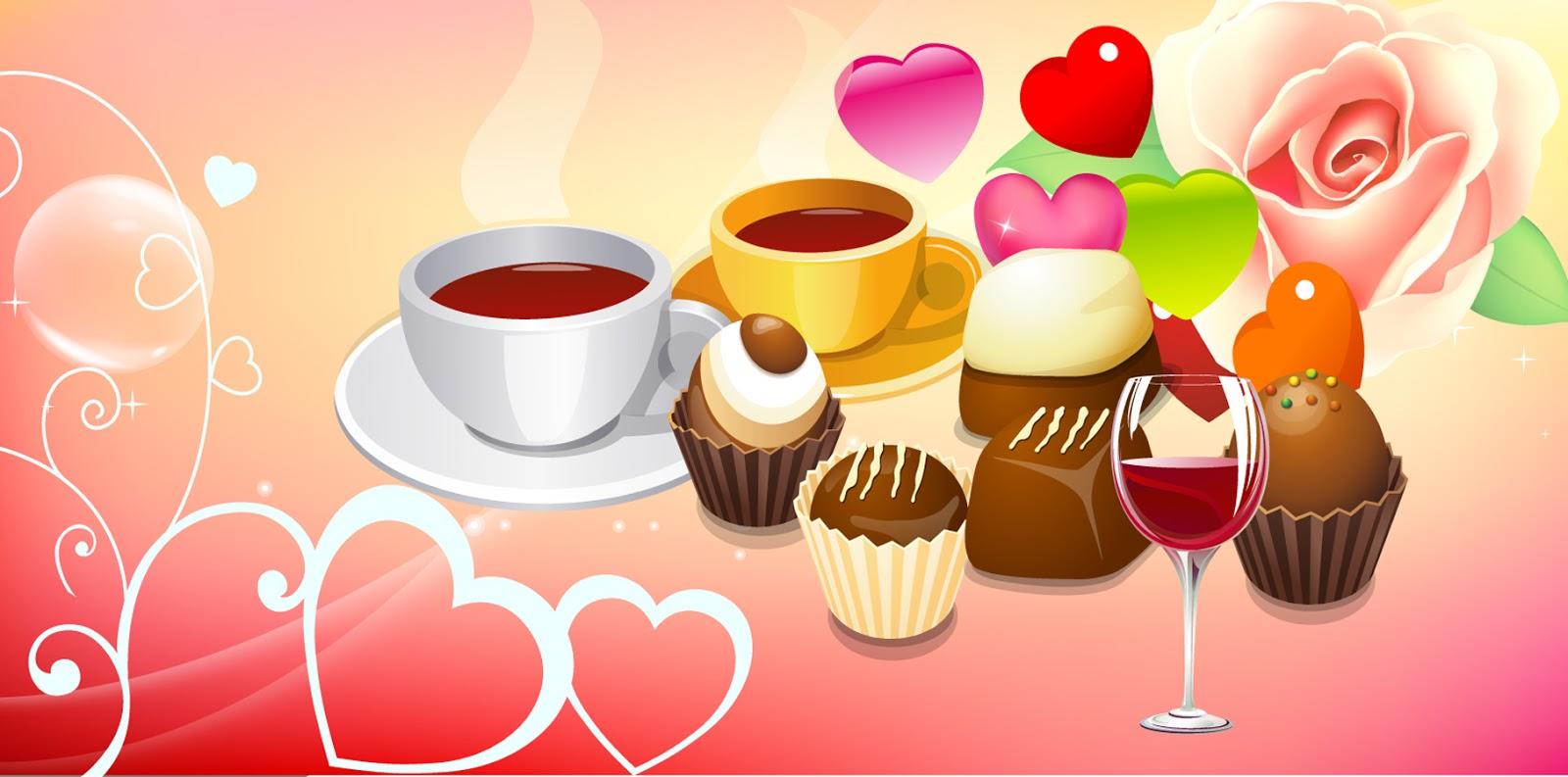 バレンタインデーのお菓子の背景 valentine sweets clipart イラスト素材