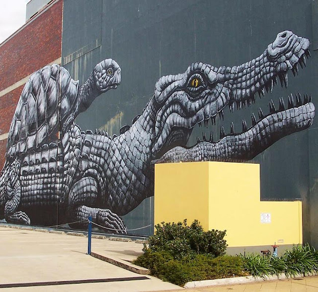 Our friend ROA recently spent some time in Australia where he was invited by Townville's city council as part of an interesting initiative to develop street art in the city.