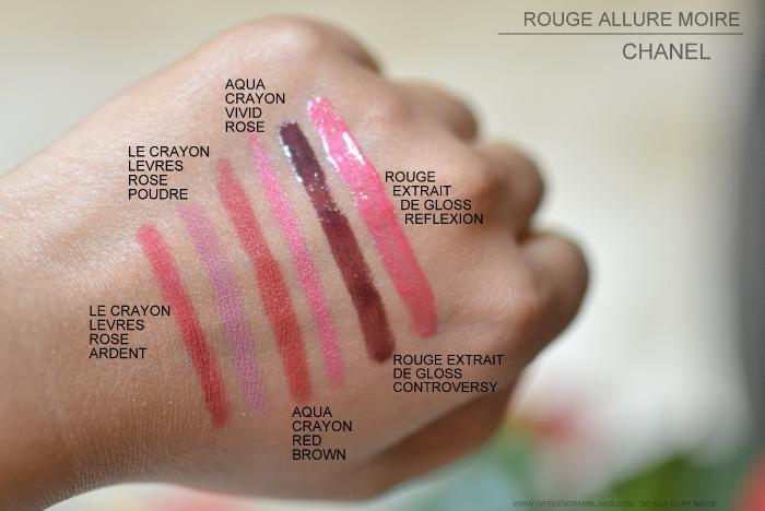 Chanel Rouge Allure Moire Makeup Collection le crayon levres lip pencil liner 69 rose ardent poudre 68 aqua crayon 17 red brown 18 vivid rouge allure extrait de gloss reflexion controversy 71 72 swatches