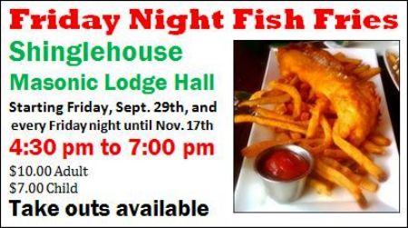 9-29 Fish Fry, Shinglehouse, PA