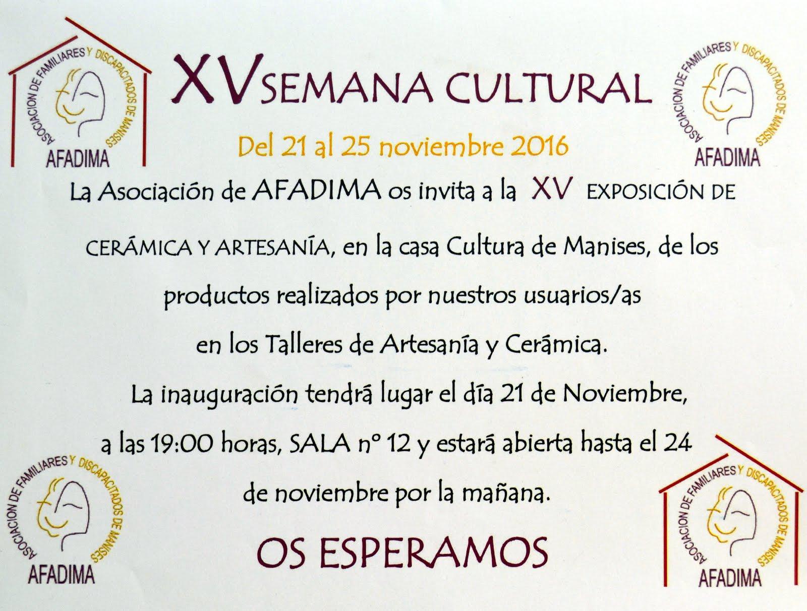 25.11.16 AFADIMA CELEBRA SU XV SEMANA CULTURAL CON UNA EXPOSICIÓN Y LA CENA EN EL HOTEL AZAFATA