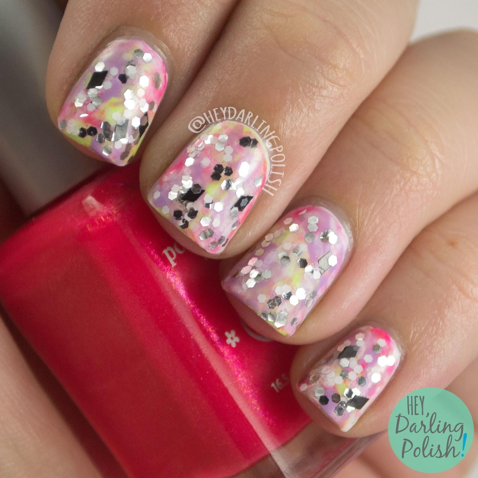 nails, nail art, nail polish, tri polish challenge, glitter, pink, purple, green, hey darling polish