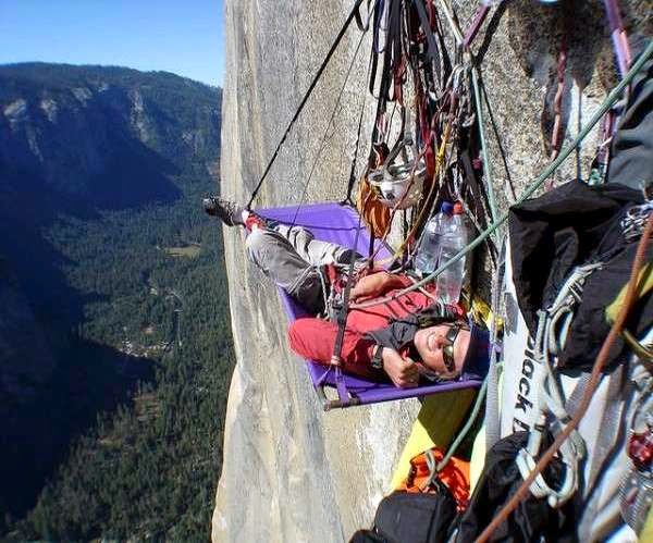 Portaledge is hanging tent system designed for rock climbers  who spent several days and nights on the high cliffs and the big climb . & www.Primo.com: Camping most extreme.