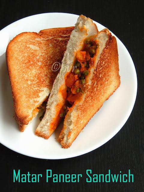 Peas paneer sandwich