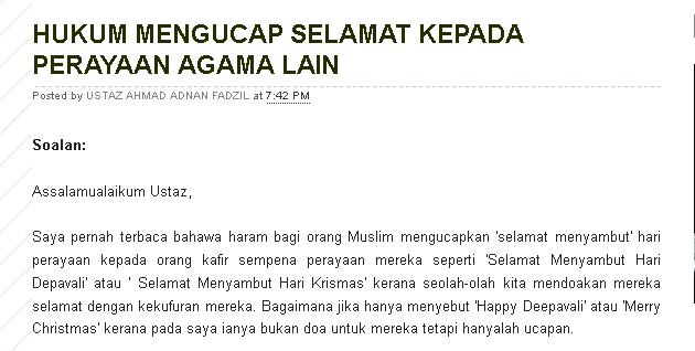 WW Hukum Orang Islam Ucap Happy Deepavali