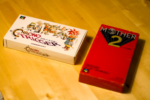 Chrono Trigger and Mother 2 Super Famicom Boxes