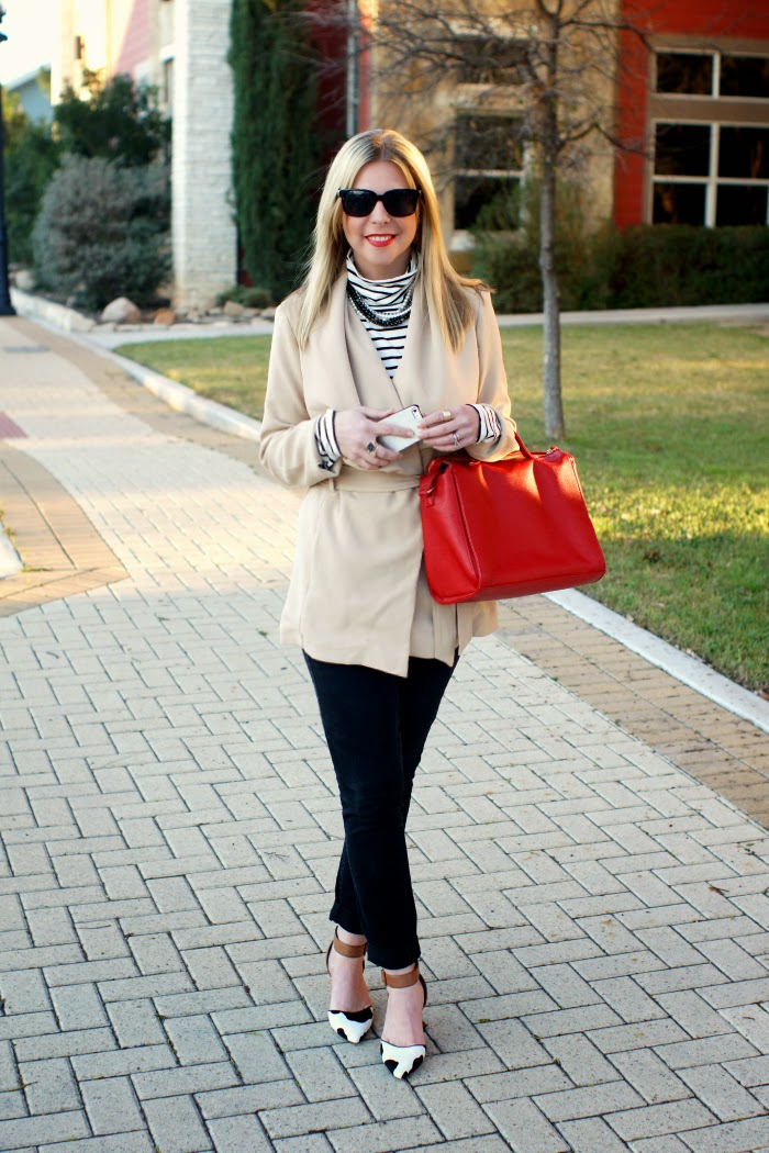Tan belted wrap coat