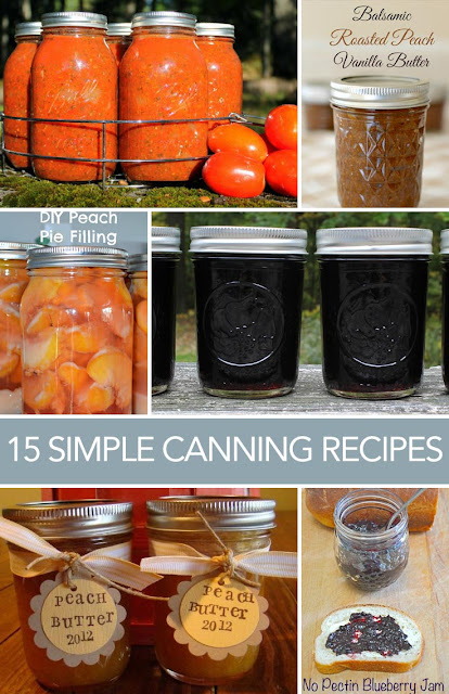 Get 15 simple canning recipes for jars all in one place!