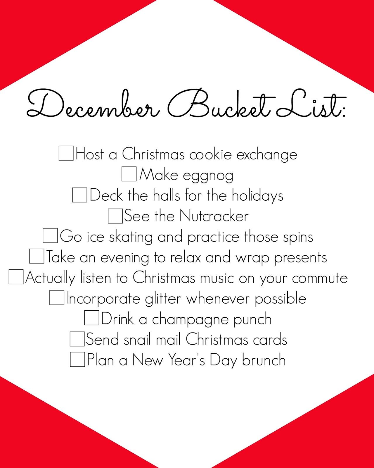 december bucket list - christmas bucket list - holiday bucket list - winter bucket list