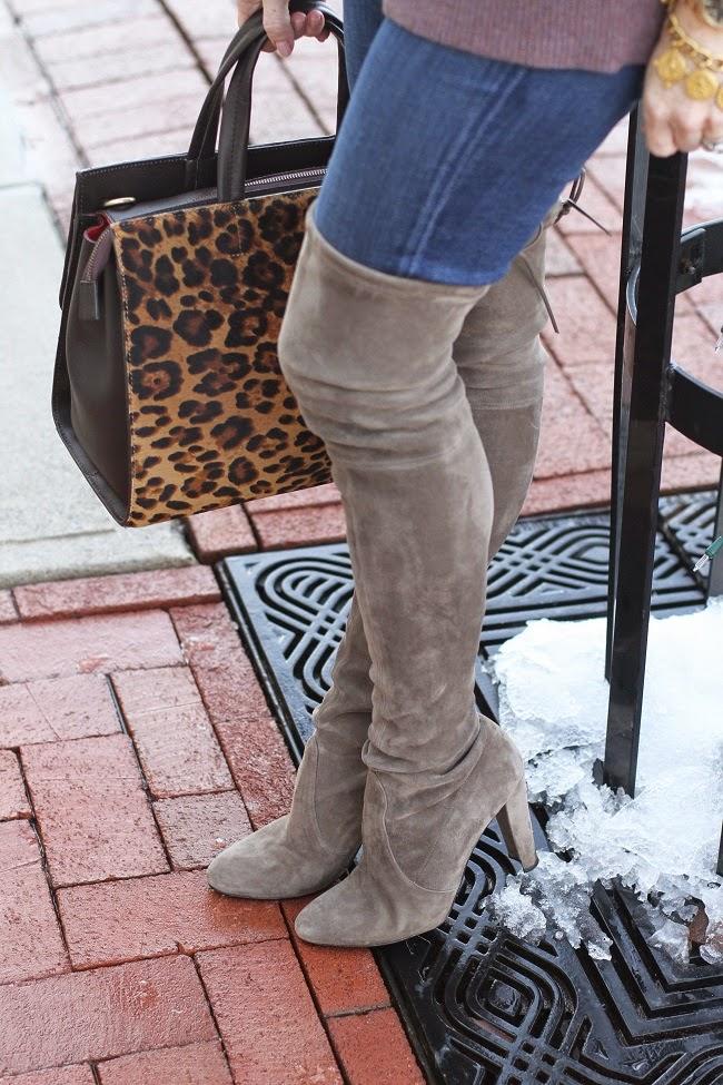 target scarf, jcrew cashmere sweater, boden leopard bag, old navy rockstar jeans, stuart weitzman highland boots, julie vos coin bracelet