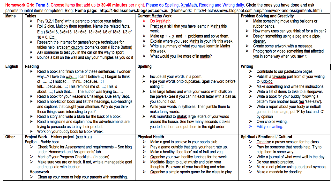 Worksheet Homework Sheets Year 5 year 5 grade class activities and news homework assignments another grid with some different options if you have run out