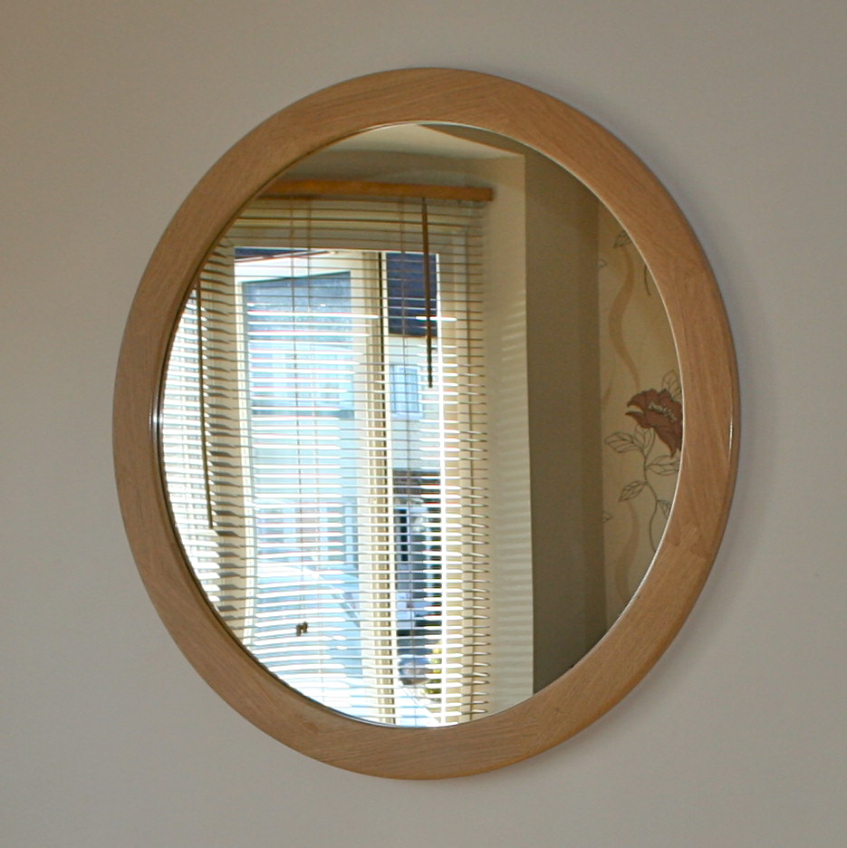 Oak round mirror squarepear furniture for Big round mirror
