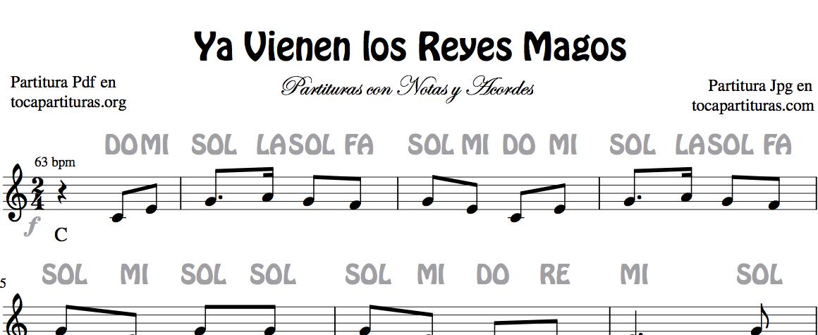 Ya Vienen los Reyes Magos Partitura de Flauta, Violín, Saxofón Alto, Trompeta, Viola, Oboe, Clarinete, Saxo Tenor, Soprano Sax, Trombón, Fliscorno, chelo, Fagot, Barítono, Bombardino, Trompa o corno, Tuba...