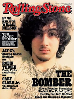 "Boston Marathon bombing suspect Dzhokhar Tsarnaev appears on the cover of the Aug. 1, 2013 issue of ""Rolling Stone."""