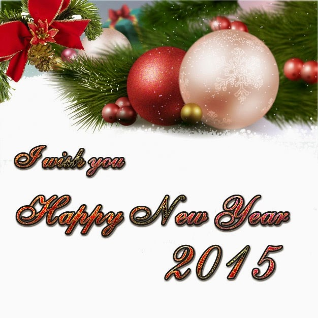 Christmas Balls Ornaments Happy New Year Best Wishes 2015 eCard