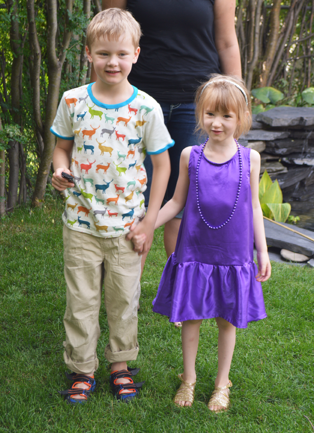 Purple silk Charlie dress and Elk Tee sewn by Cicely Ingleside