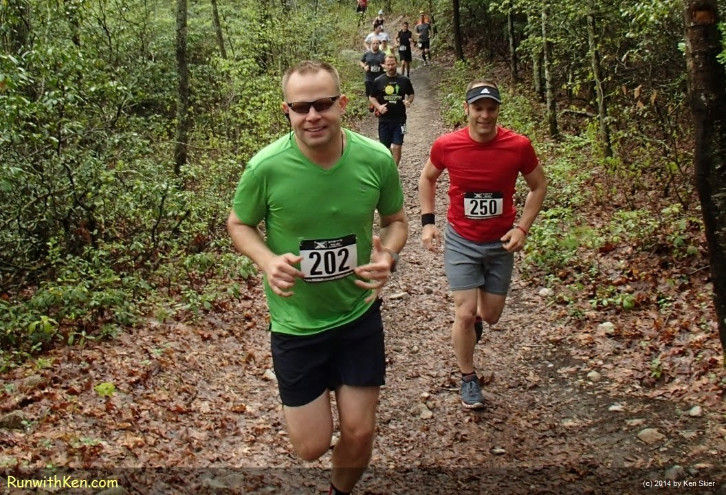 Up-close action photo of trail running at the XTERRA Trail Series MA #1--Wallum Lake--in Douglas, MA. Sports Photography from Inside the Pack by Ken Skier, The Running Photographer, aka