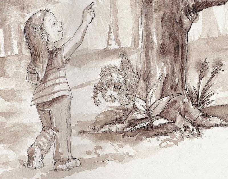 kinderbuchillustration, mädchen, skizze, aquarell, sepia