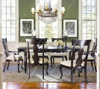 Deep cappuccino American classic style dining table
